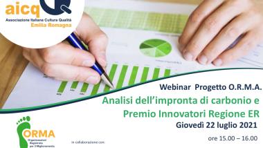 """On line il webinar """"Analisi dell'impronta di carbonio e Premio Innovatori Regione ER"""""""
